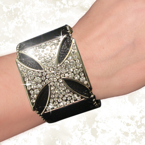 That's A Wrap Chopper Cross Rhinestone Leather Cuff