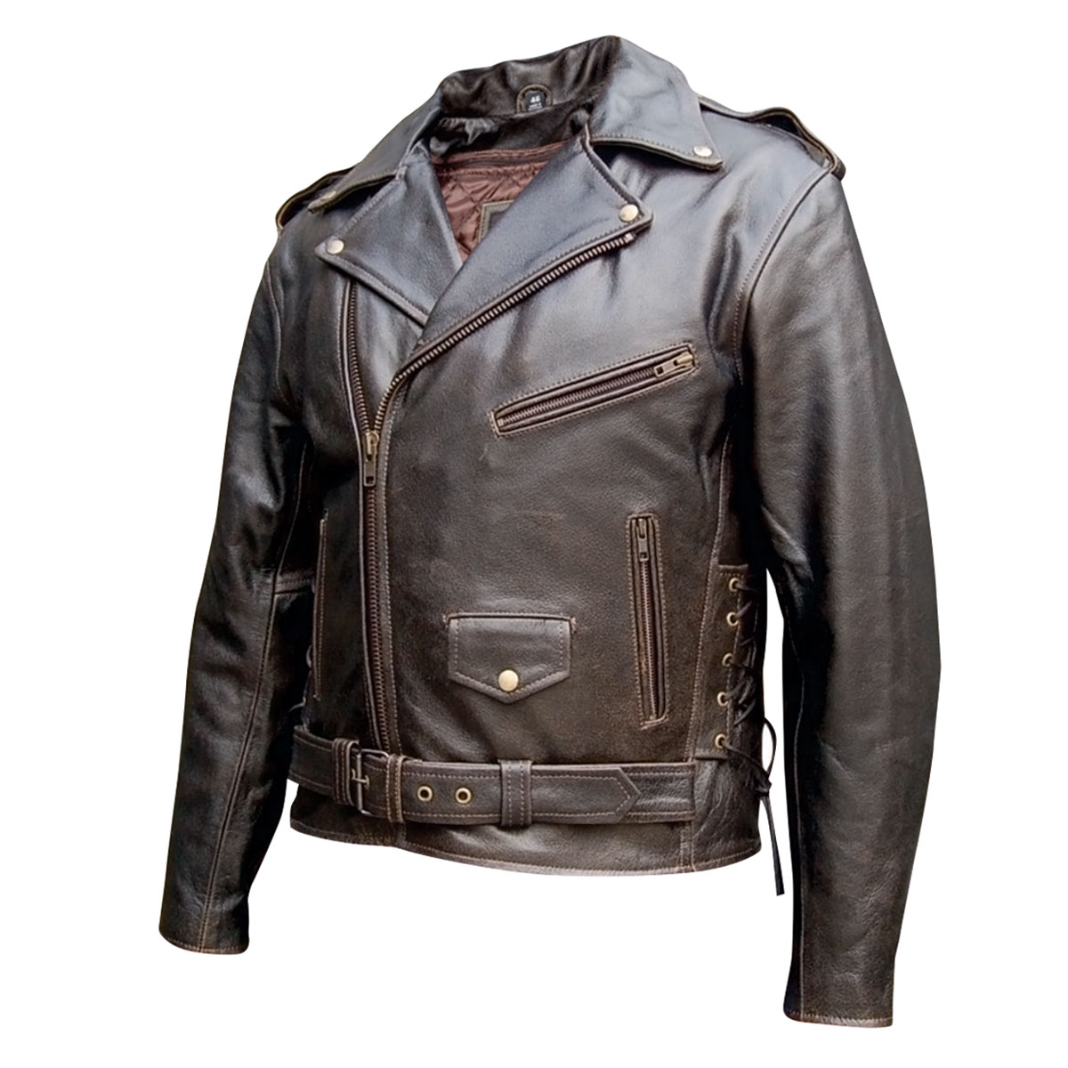 Allstate Leather Inc. Men′s Retro Brown Motorcycle Jacket