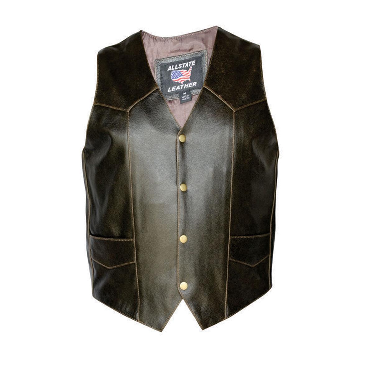 Allstate Leather Inc. Men′s Retro Brown Leather Vest
