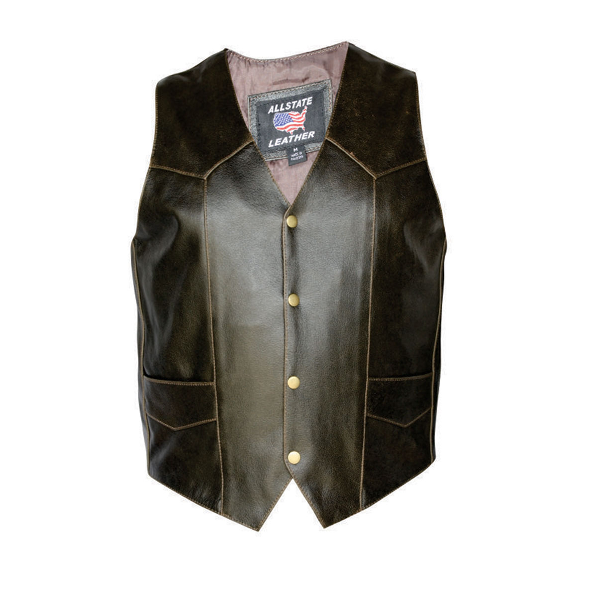 Allstate Leather Inc. Men's Retro Brown Leather Vest
