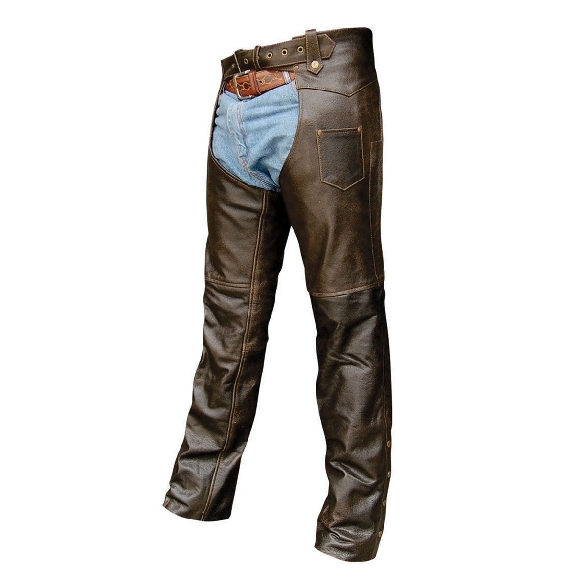 Allstate Sign Service >> Allstate Leather Inc. Retro Brown Buffalo Leather Chaps | 724-570 | J&P Cycles