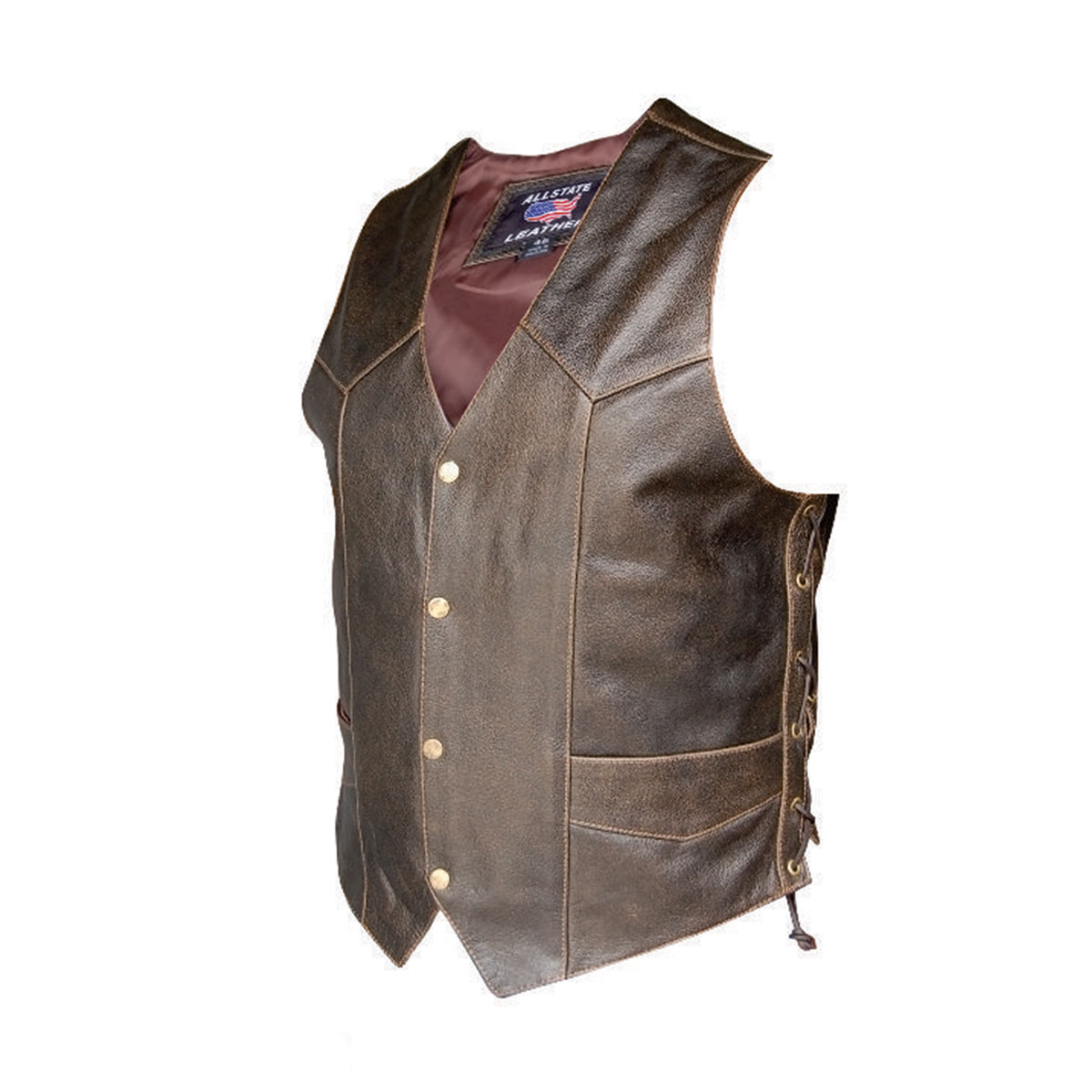 Allstate Leather Inc. Men′s Retro Brown Laced Vest