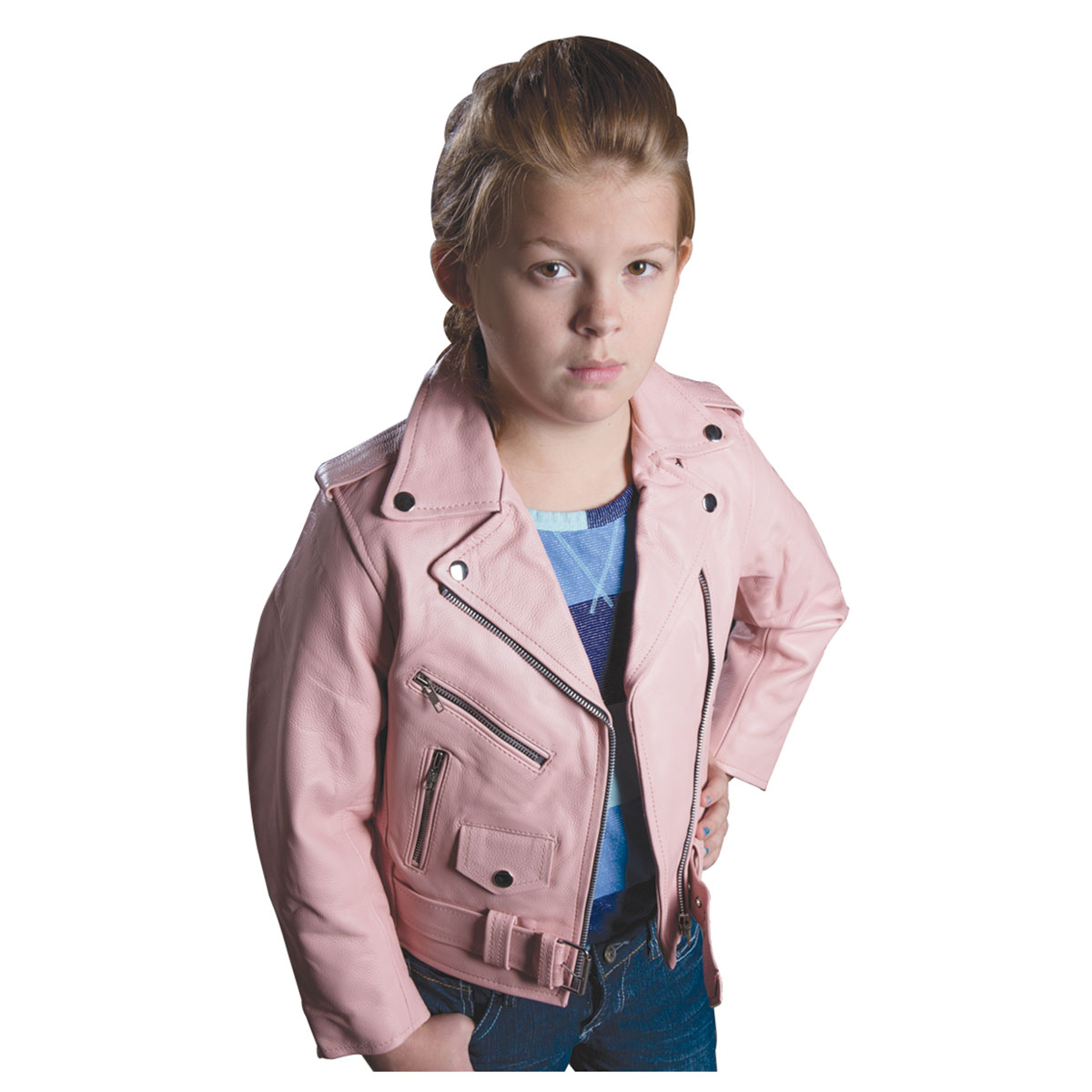 Allstate Leather Inc. Girl's Pink Cowhide Leather Motorcycle Jacket