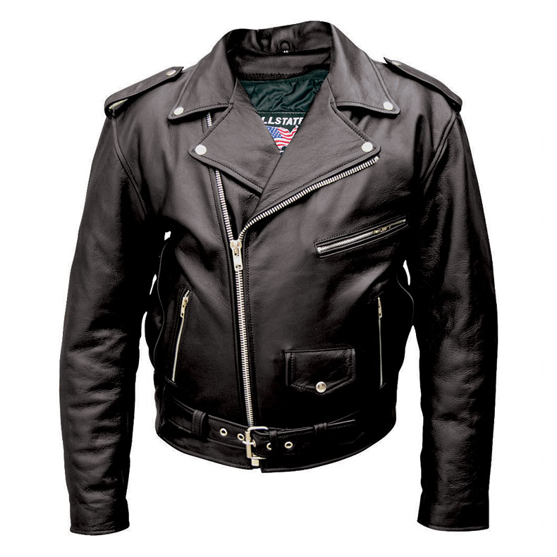 Allstate Leather Inc. Men′s Black Buffalo Leather Motorcycle Jacket