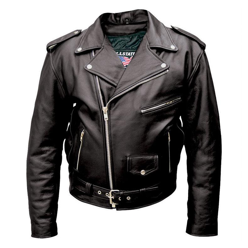 Allstate Leather Inc. Men's Black Buffalo Leather Motorcycle Jacket