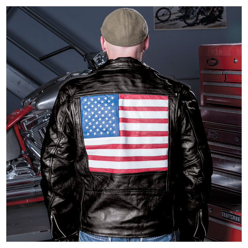 Allstate Leather Inc. Men′s Buffalo Leather Jacket with USA Flag