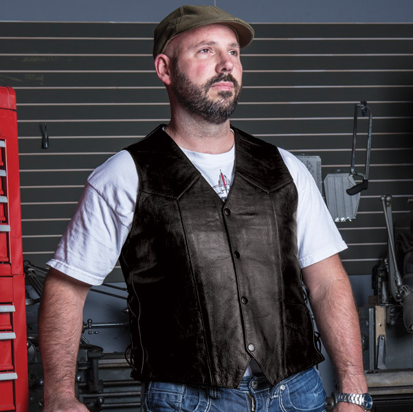 Allstate Leather Inc. Men′s Buffalo Leather Vest with USA Flag