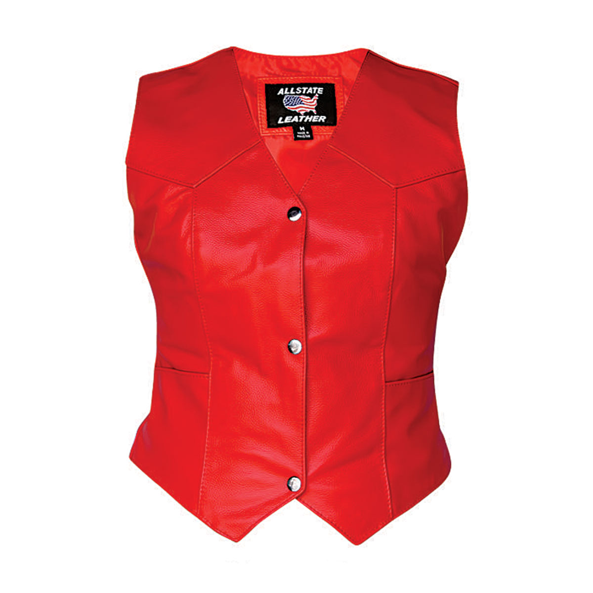 Allstate Leather Inc. Women′s Red Leather Vest