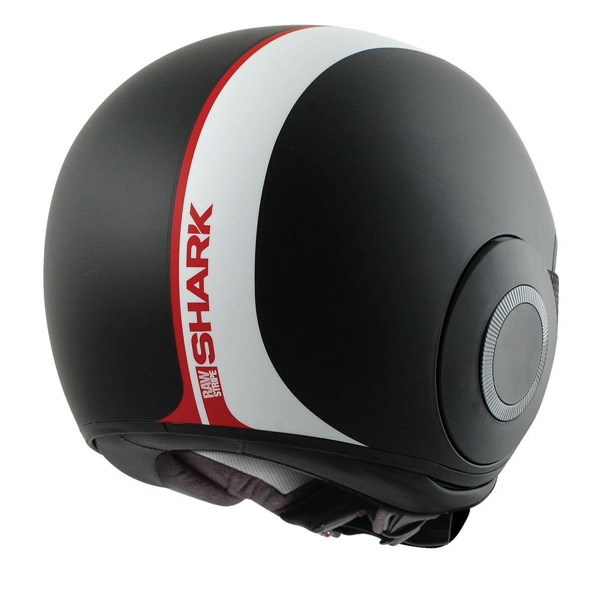 Shark RAW Stripe Matte Black/White/Red Helmet