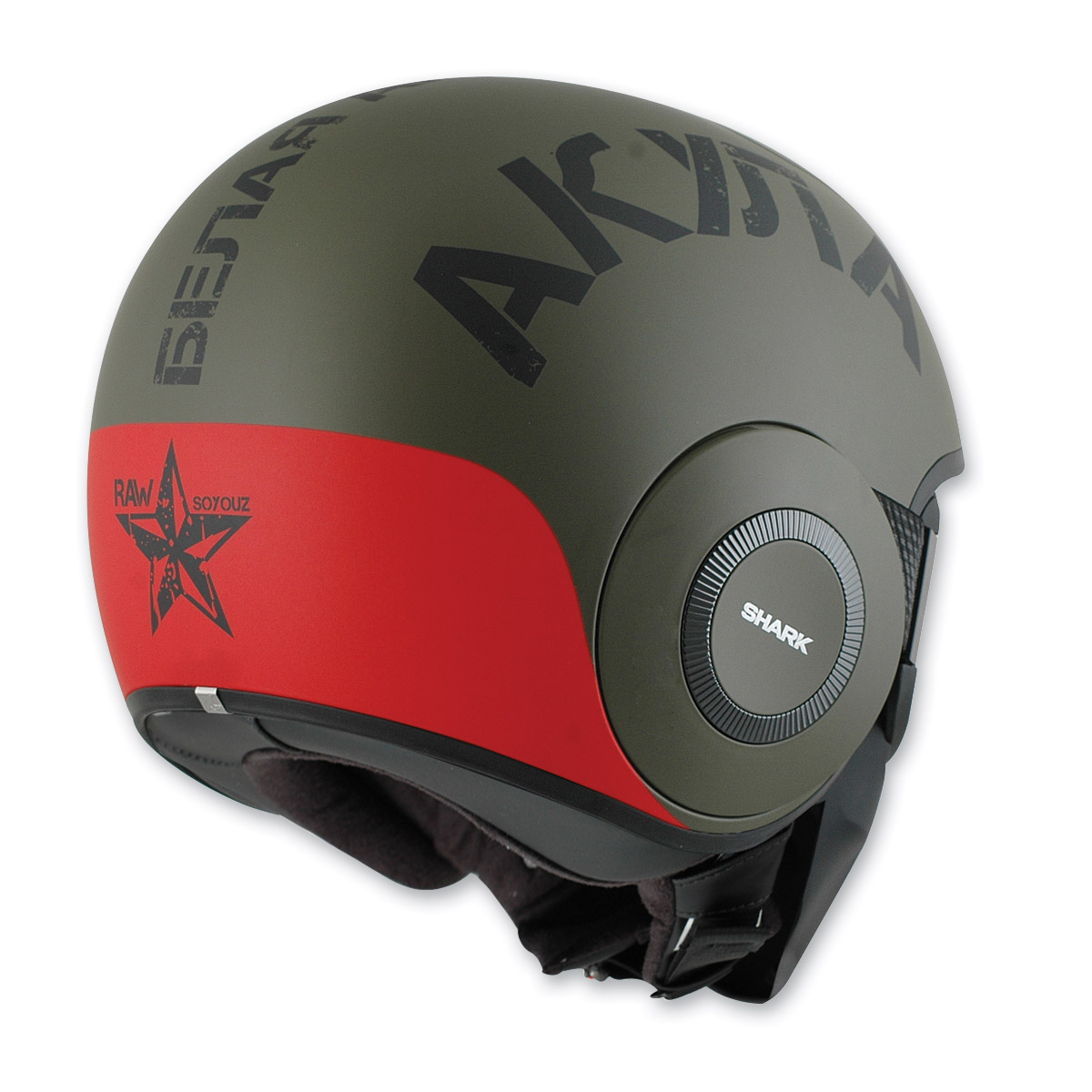 Shark RAW Soyouz Matte Green/Red Helmet