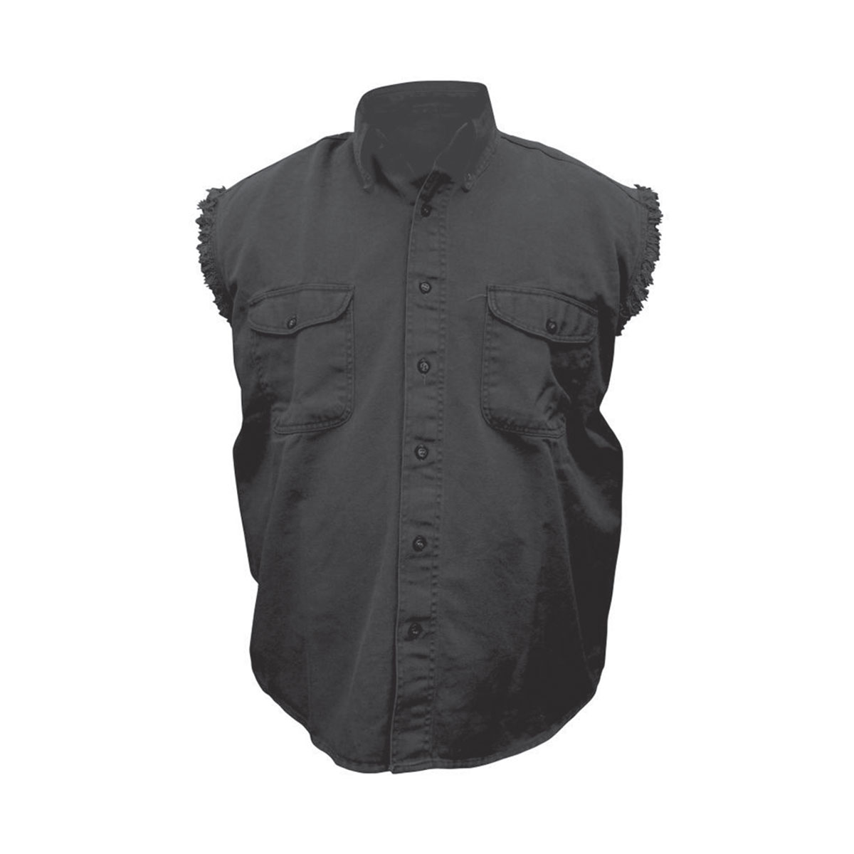 Allstate Leather Inc. Men's Cotton Button Down Black Sleeveless ...