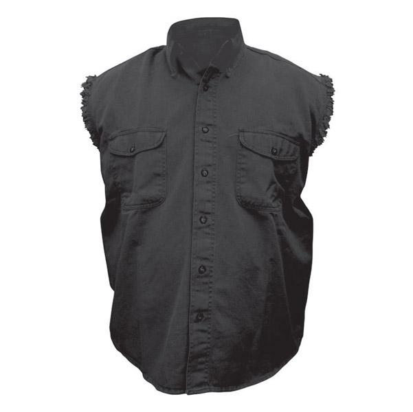Allstate Leather Inc. Men's Cotton Button Down Black Sleeveless Shirt