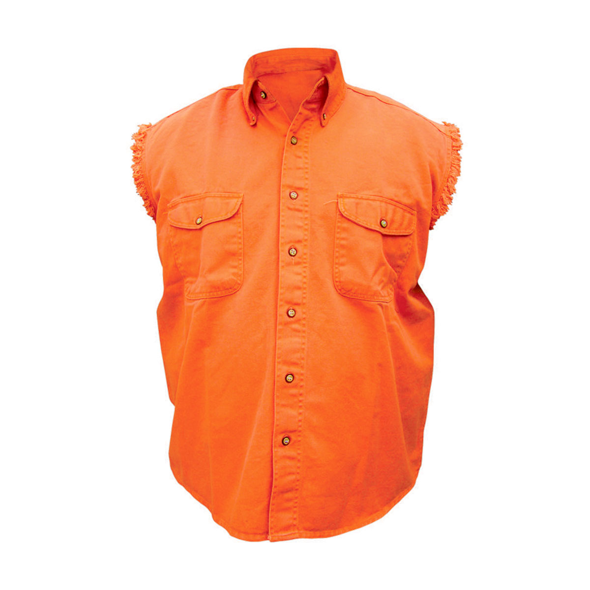 Allstate Leather Inc. Men's Cotton Button Down Orange Sleeveless Shirt