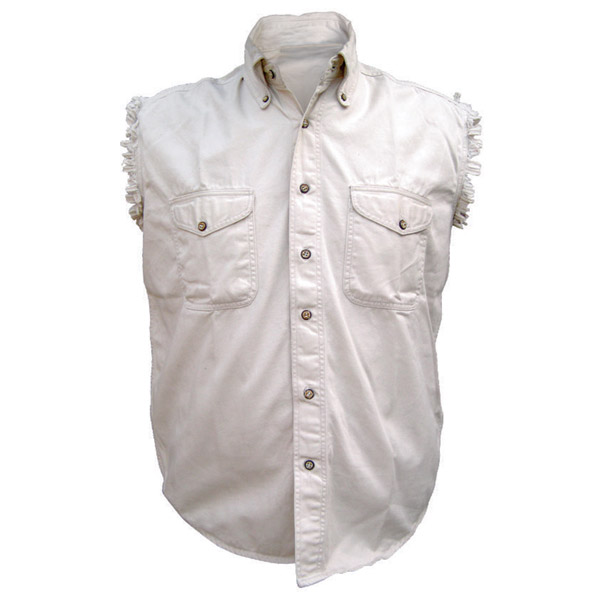 47fa0d5f Allstate Leather Inc. Men's Cotton Button Down Cream Sleeveless Shirt
