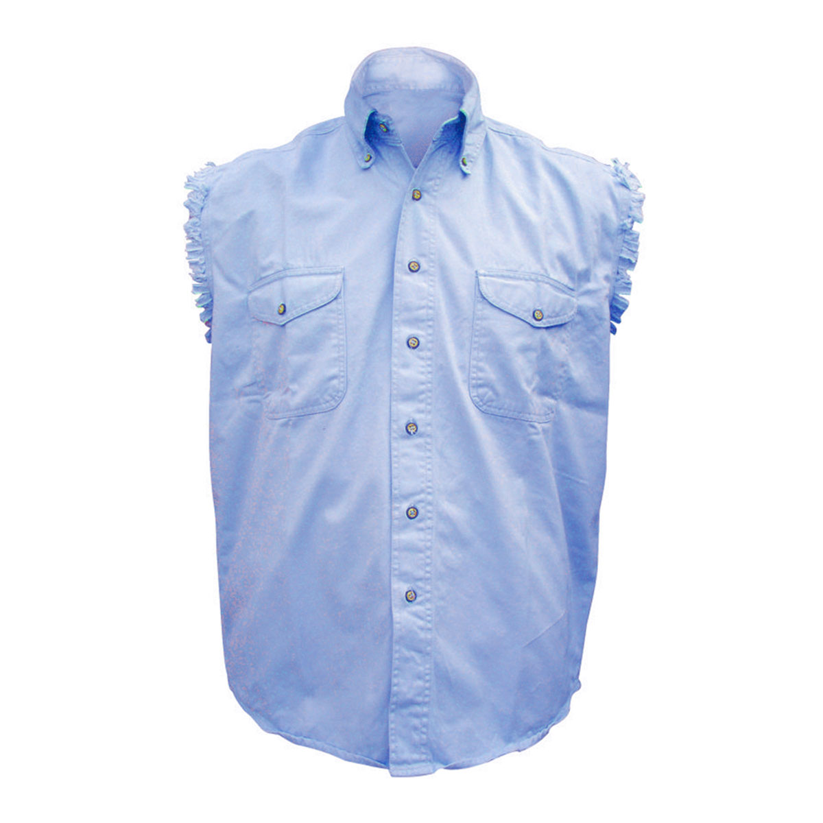 Allstate leather inc men 39 s cotton button down blue for Sleeveless cotton button down shirts