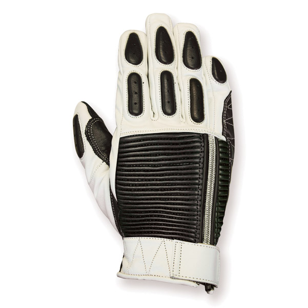 RSD Apparel Dezel White/Black Leather Gloves