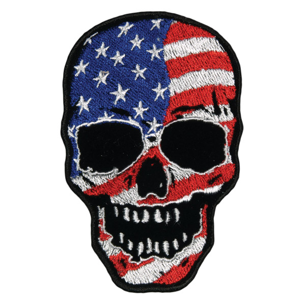 Hot Leathers American Flag Skull Embroidered Patch