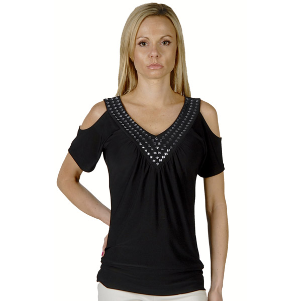 Liberty Wear Liberty Riveted Shoulder Top