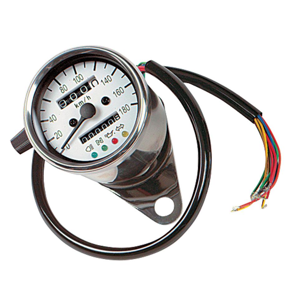 J&P Cycles® Mini Mechanical KPH Speedometer with LED Indicators