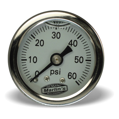 Marlin's White 0-60 PSI Liquid-Filled Oil Pressure Gauge