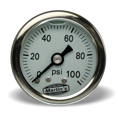 Marlin's White 0-100 PSI Liquid-Filled Oil Pressure Gauge