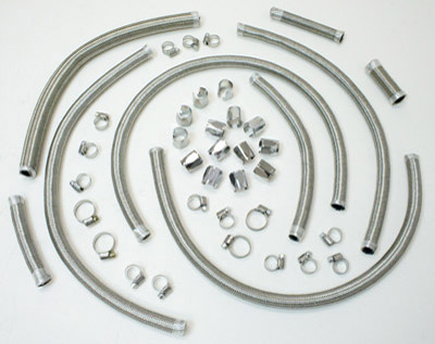 Russell Pre-Cut Braided Stainless Steel Oil Line Kit