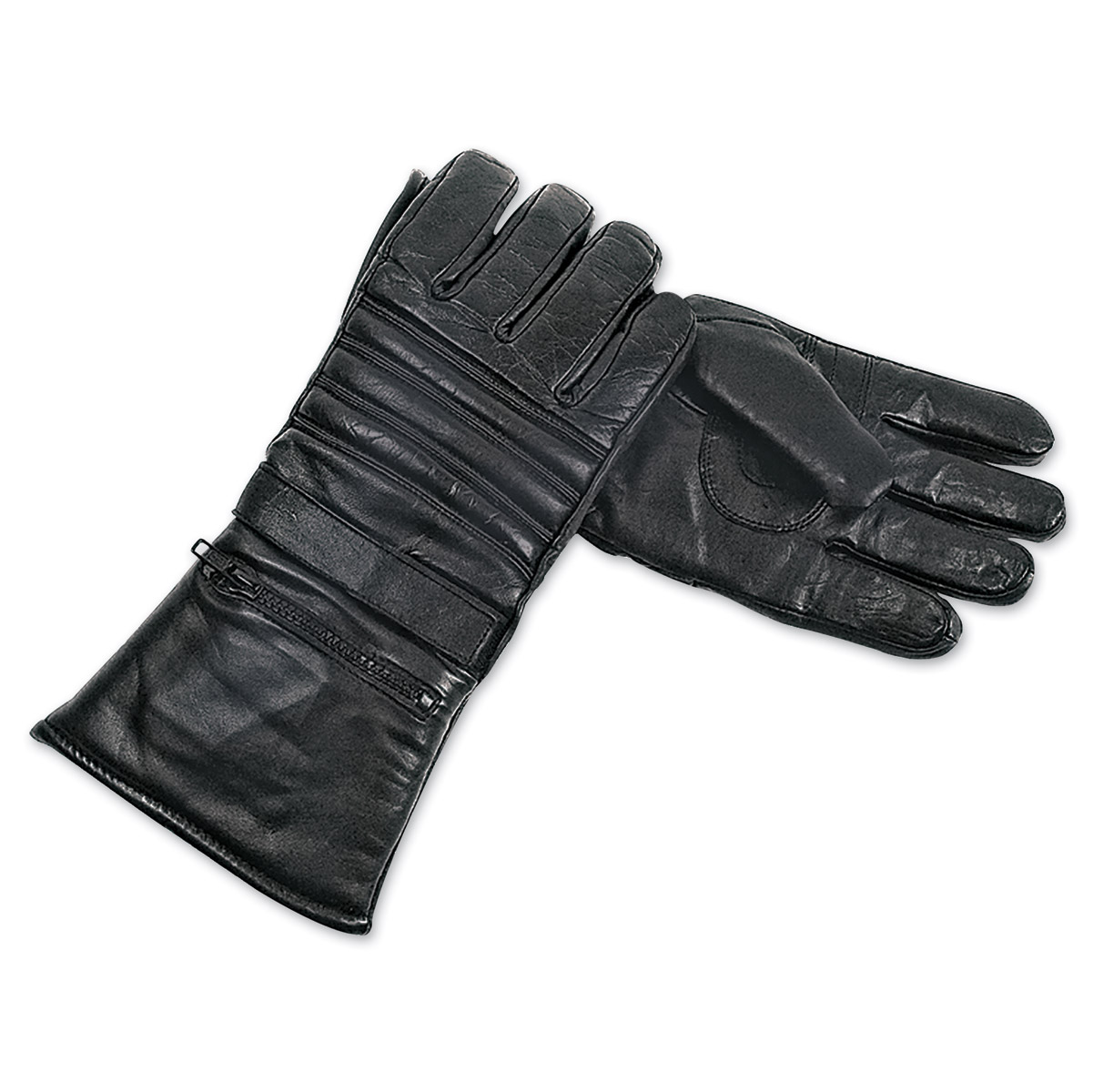 Interstate Leather Men's Padded Riding Black Leather Gloves