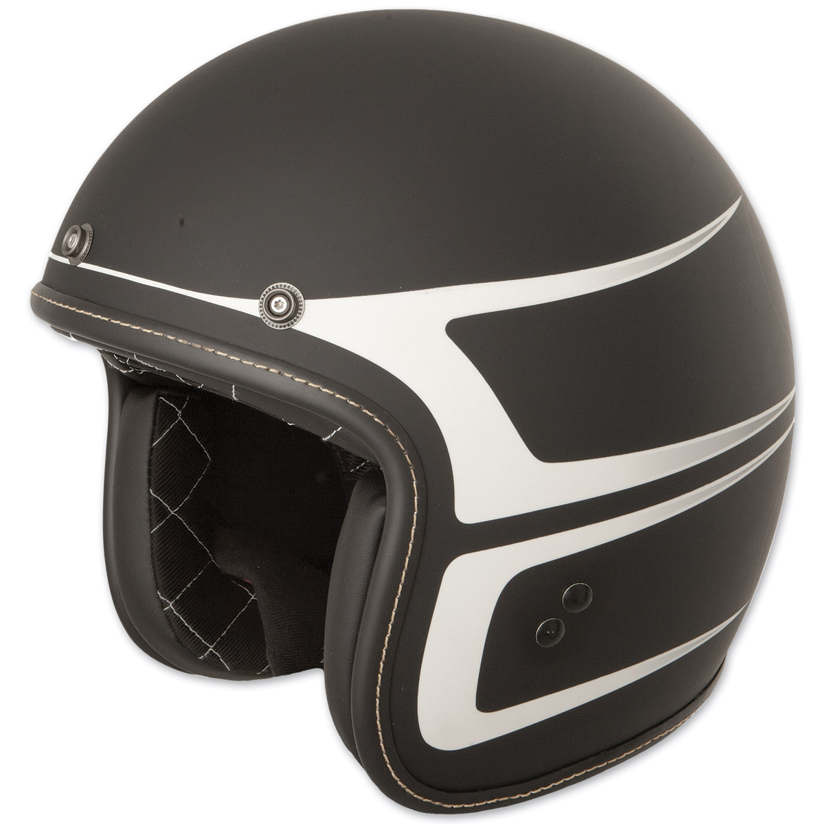 FLY Racing Street .38 Retro Matte Black/White Scallop Open Face Helmet