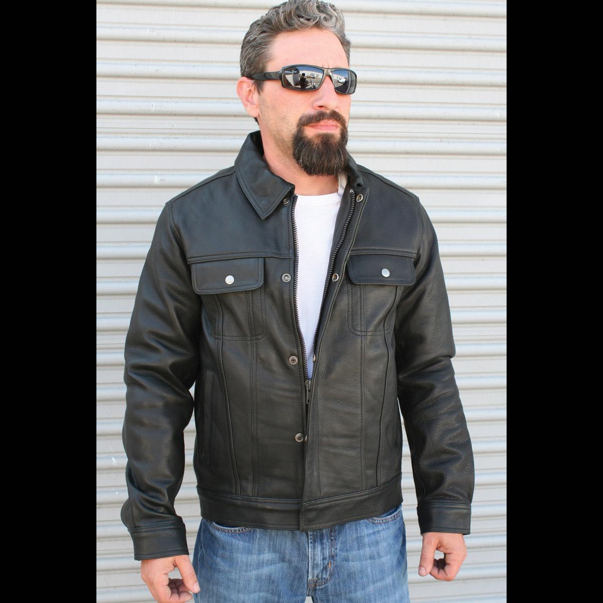 Crank & Stroker Supply Men's Ace Black Leather Jacket