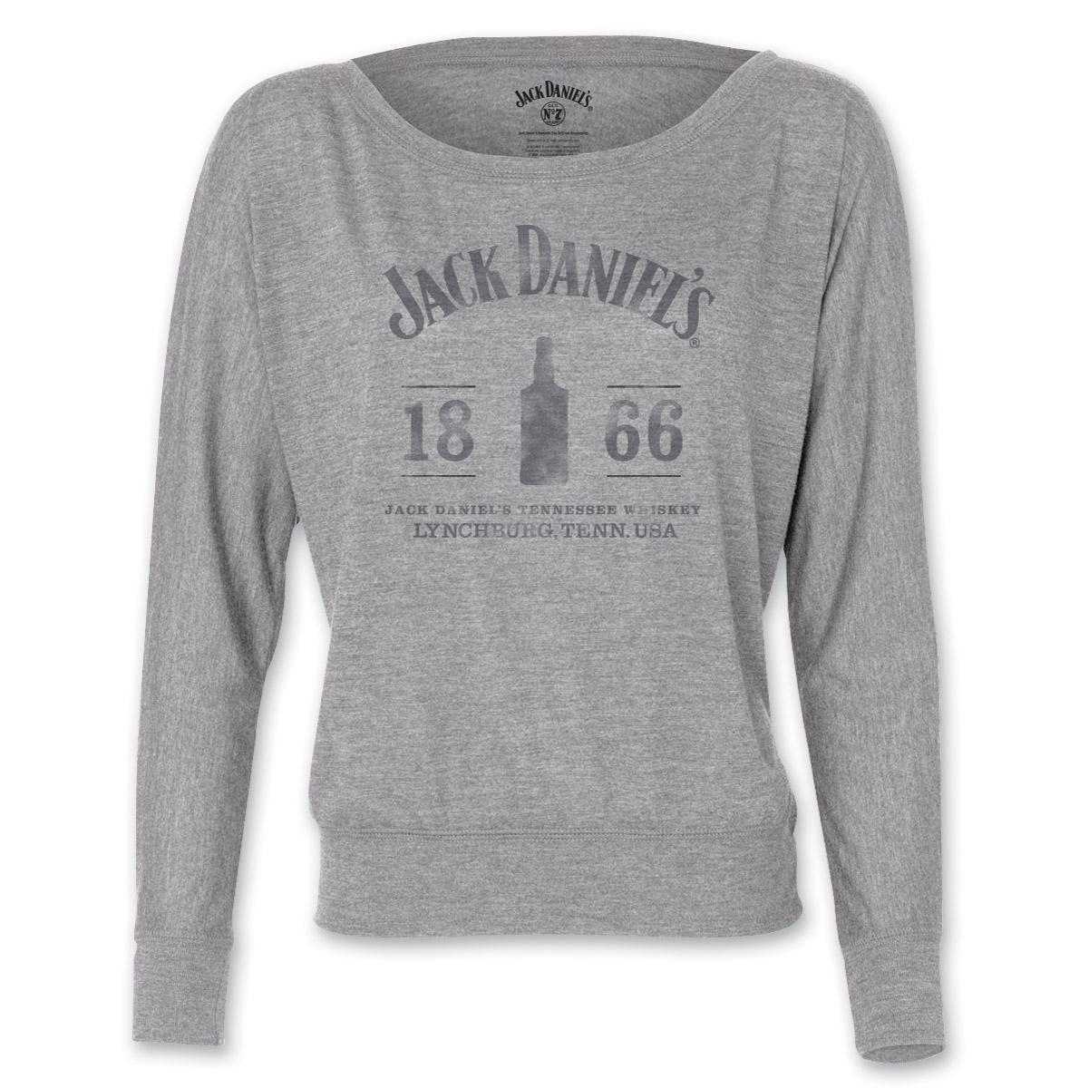Jack Daniel s Women s 1866 Bottle Flowy Gray Long-Sleeve T-Shirt ... a01e2eba35