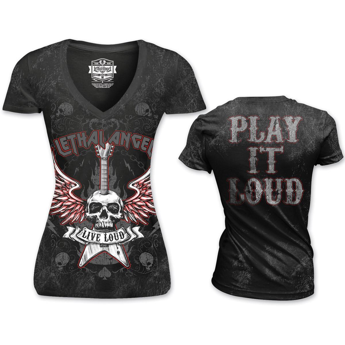 Lethal Angel Women's Live Loud V-Neck Black T-Shirt
