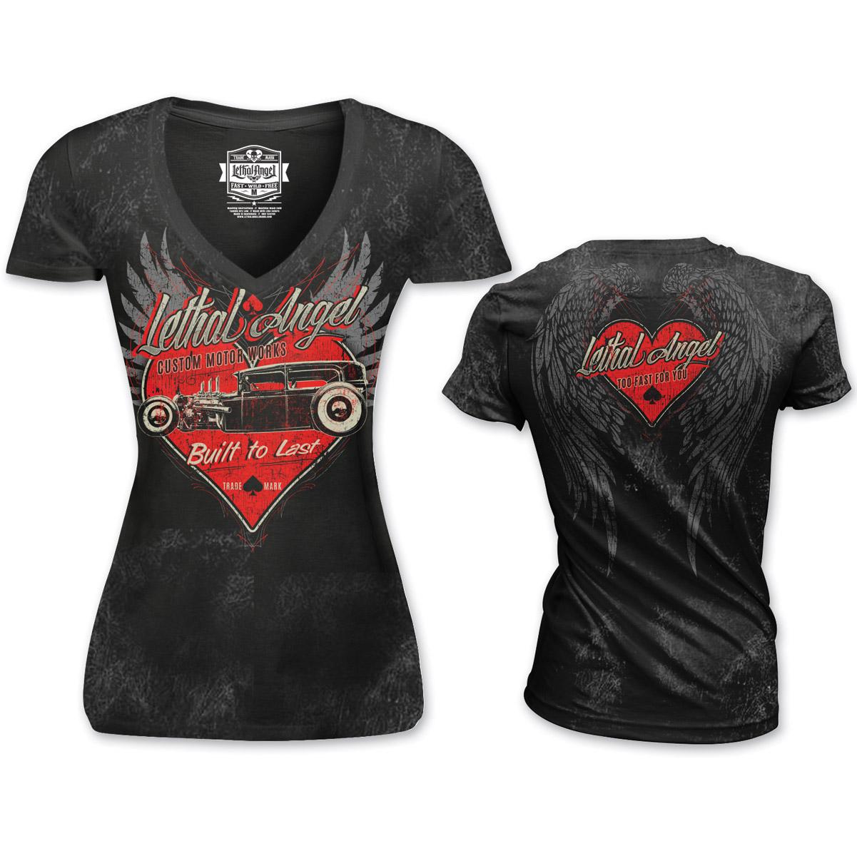 Lethal Angel Women's Built to Last V-Neck Black T-Shirt