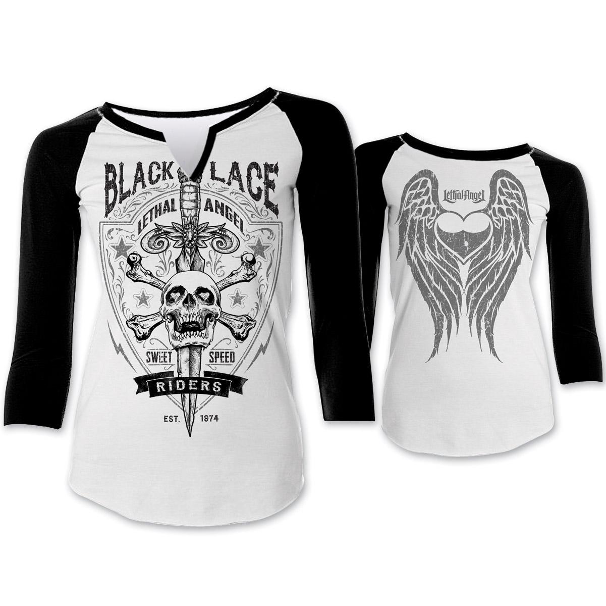 Lethal Angel Women's Black Lace Black/White Baseball Tee