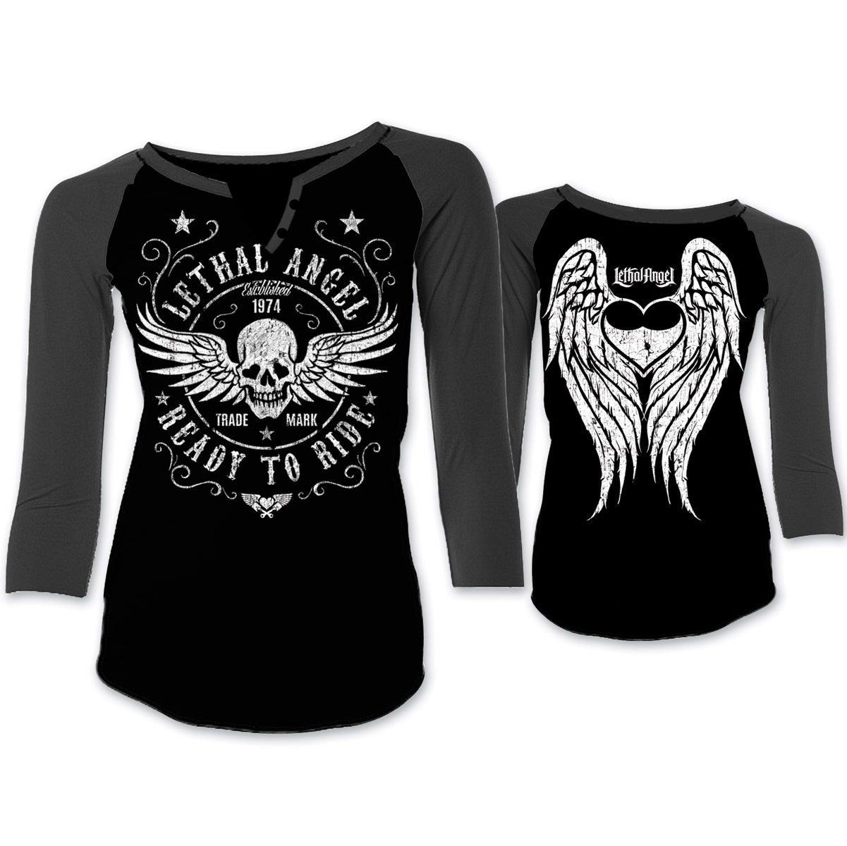 Lethal Angel Women's Ready to Ride Black/Gray Baseball Tee