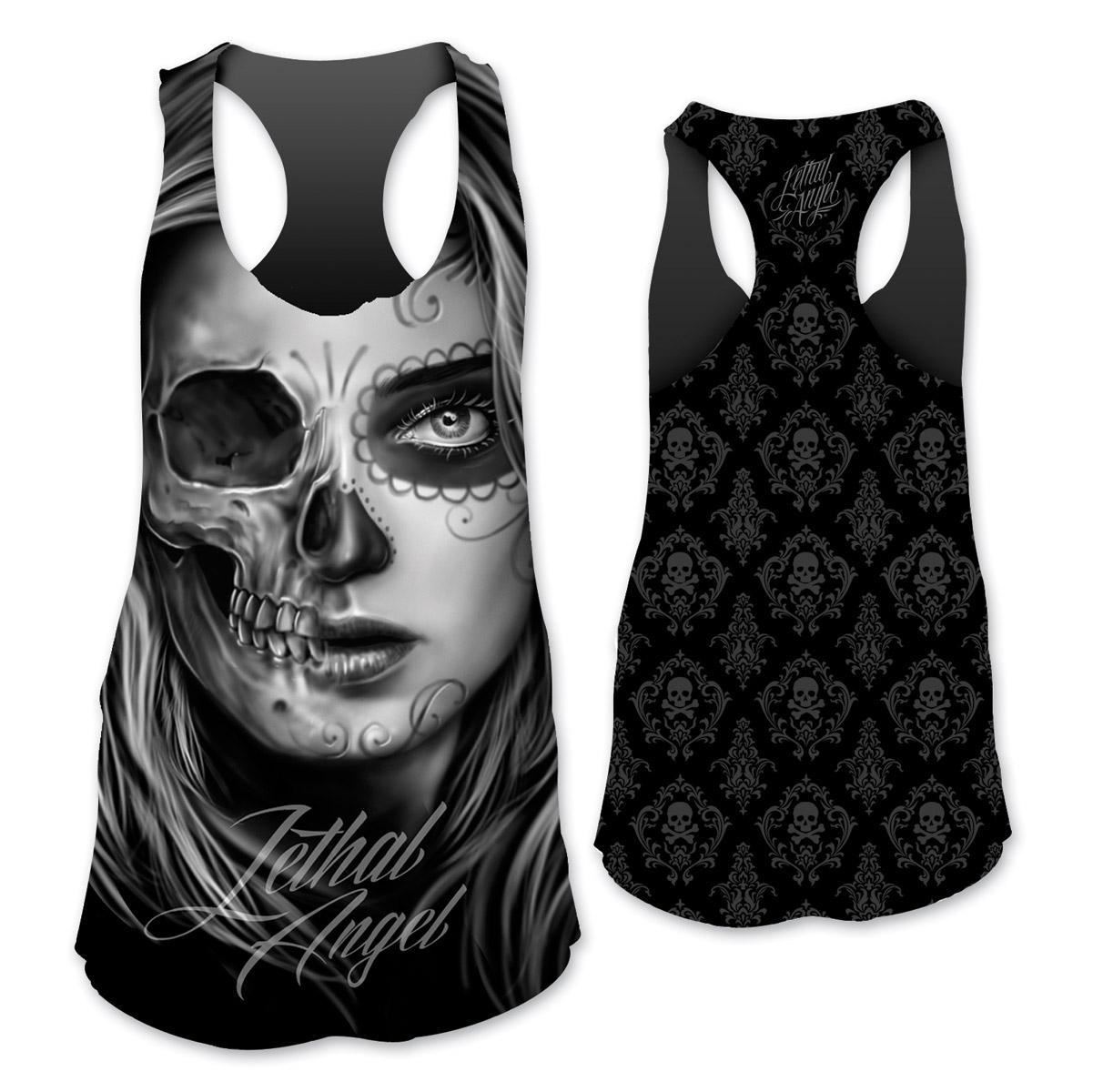 Lethal Angel Women's Half D.O.D. Skull Sublimated Black Tank