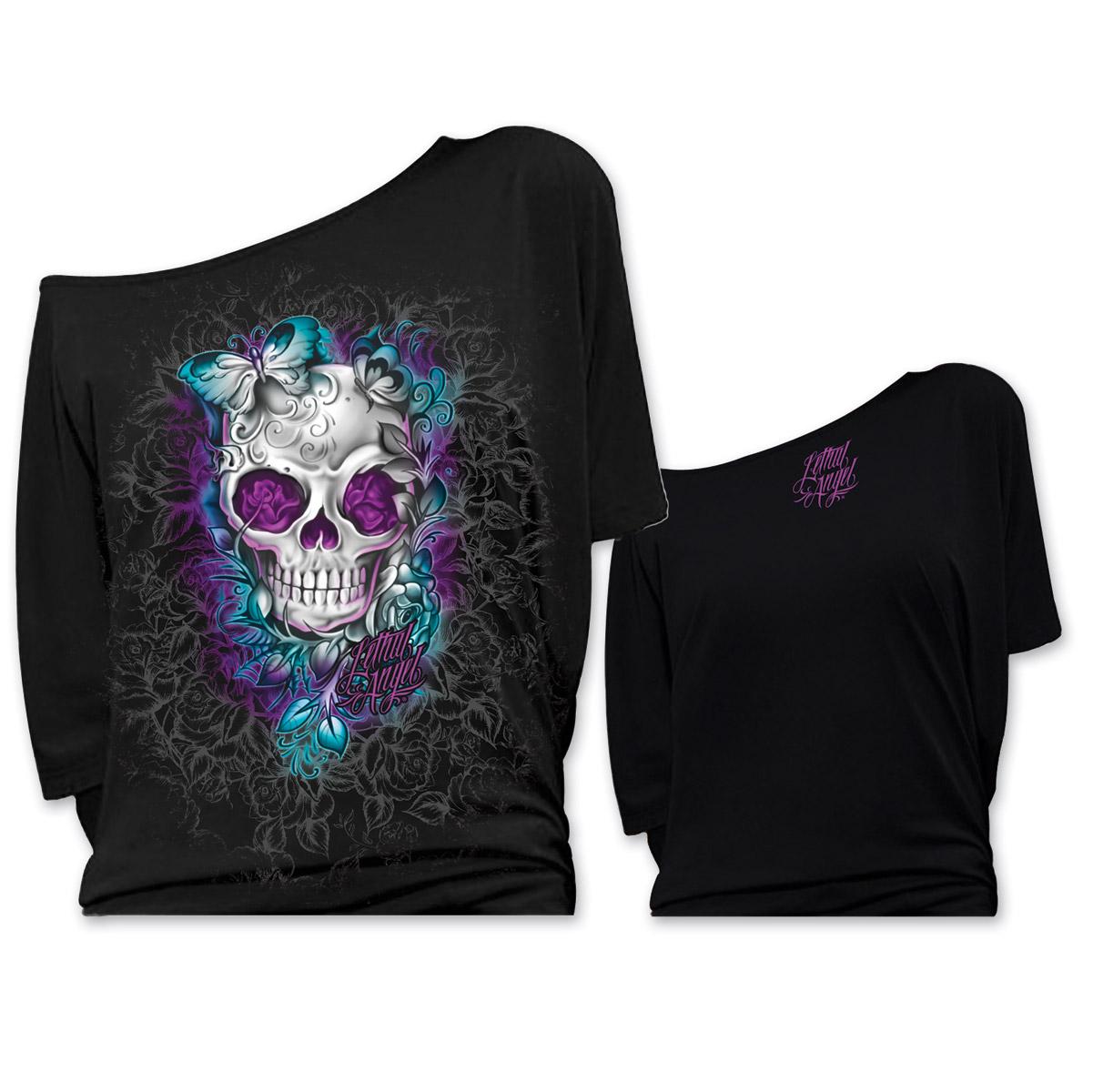 Lethal Angel Women's Butterfly Skull Off The Shoulder Black T-Shirt