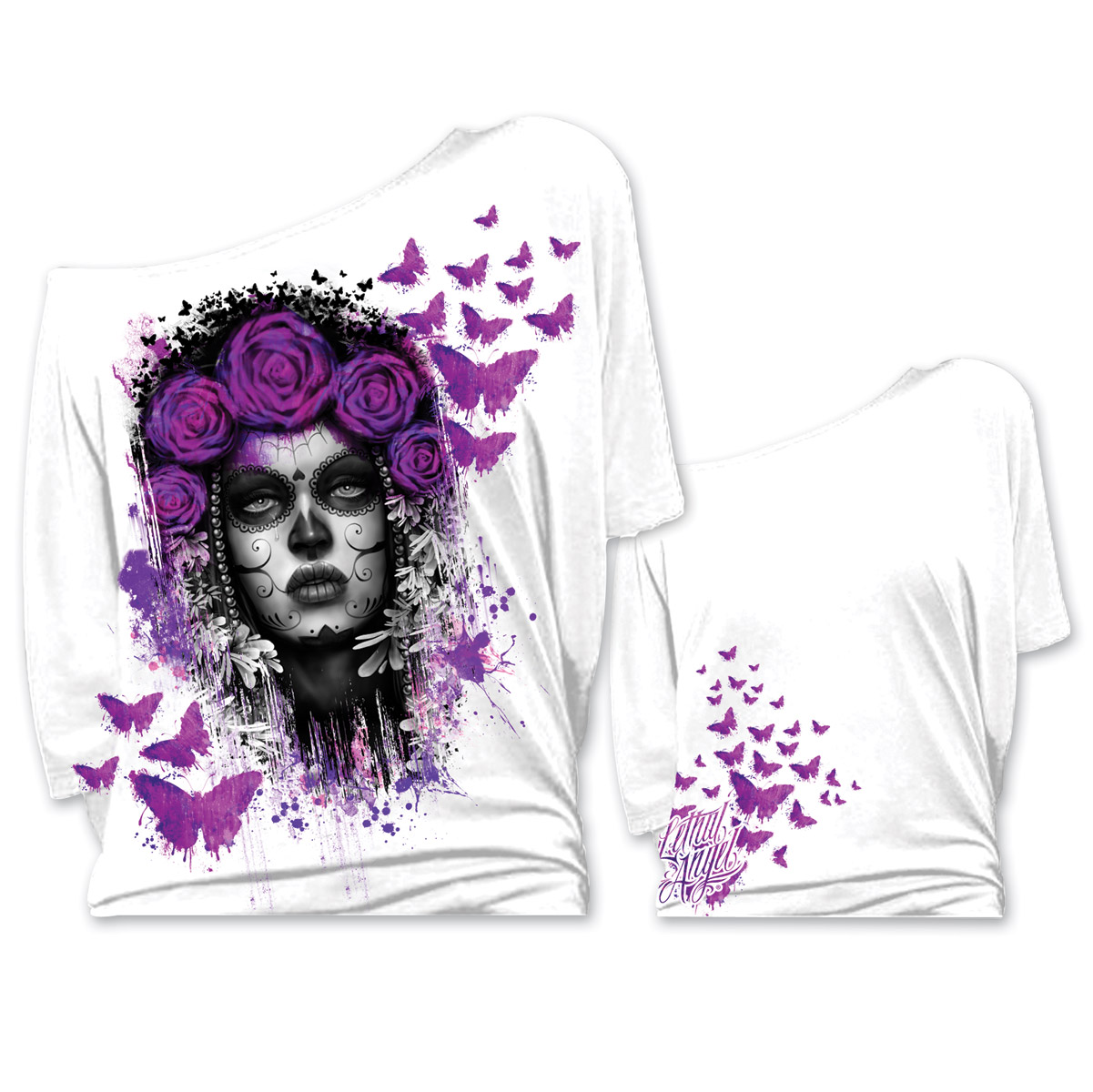 Lethal Angel Women's D.O.D. Butterlies Off The Shoulder White Shirt
