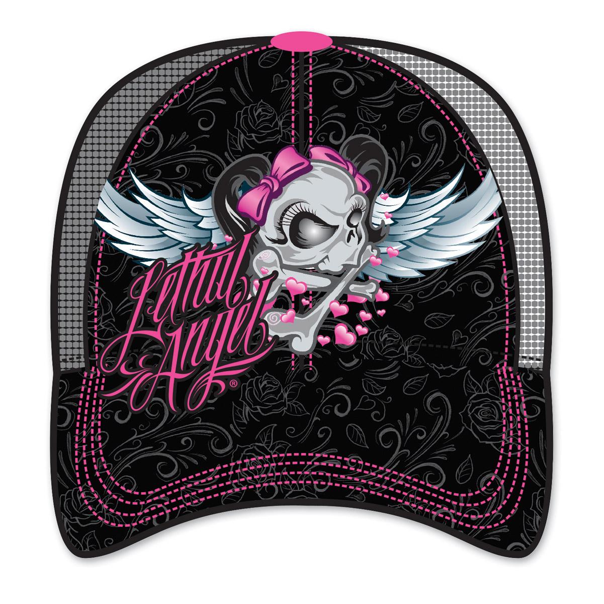 Lethal Angel Women's Girl Skull Black Trucker Hat