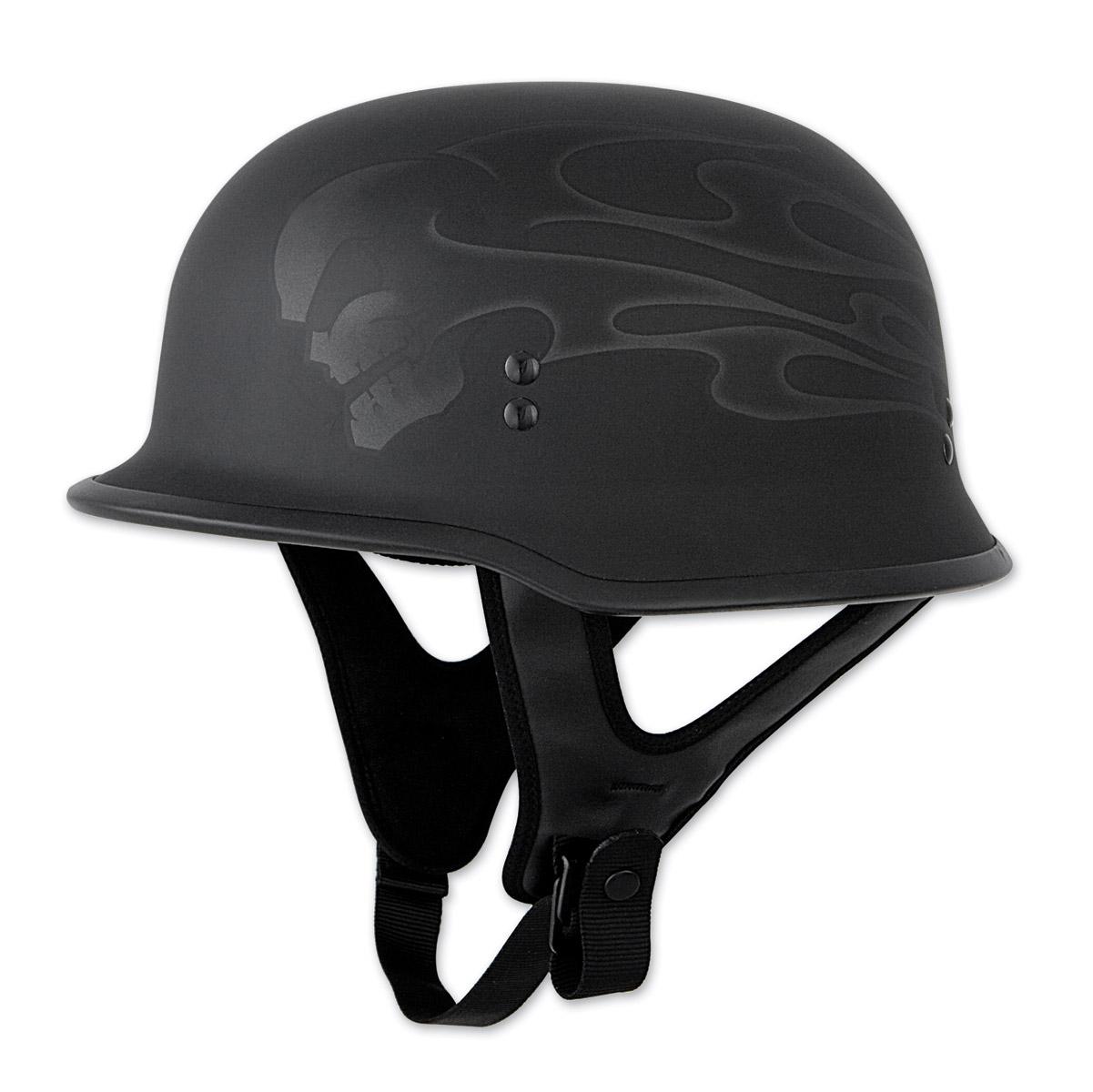FLY Racing Street 9MM Ghost Flame Black Half Helmet
