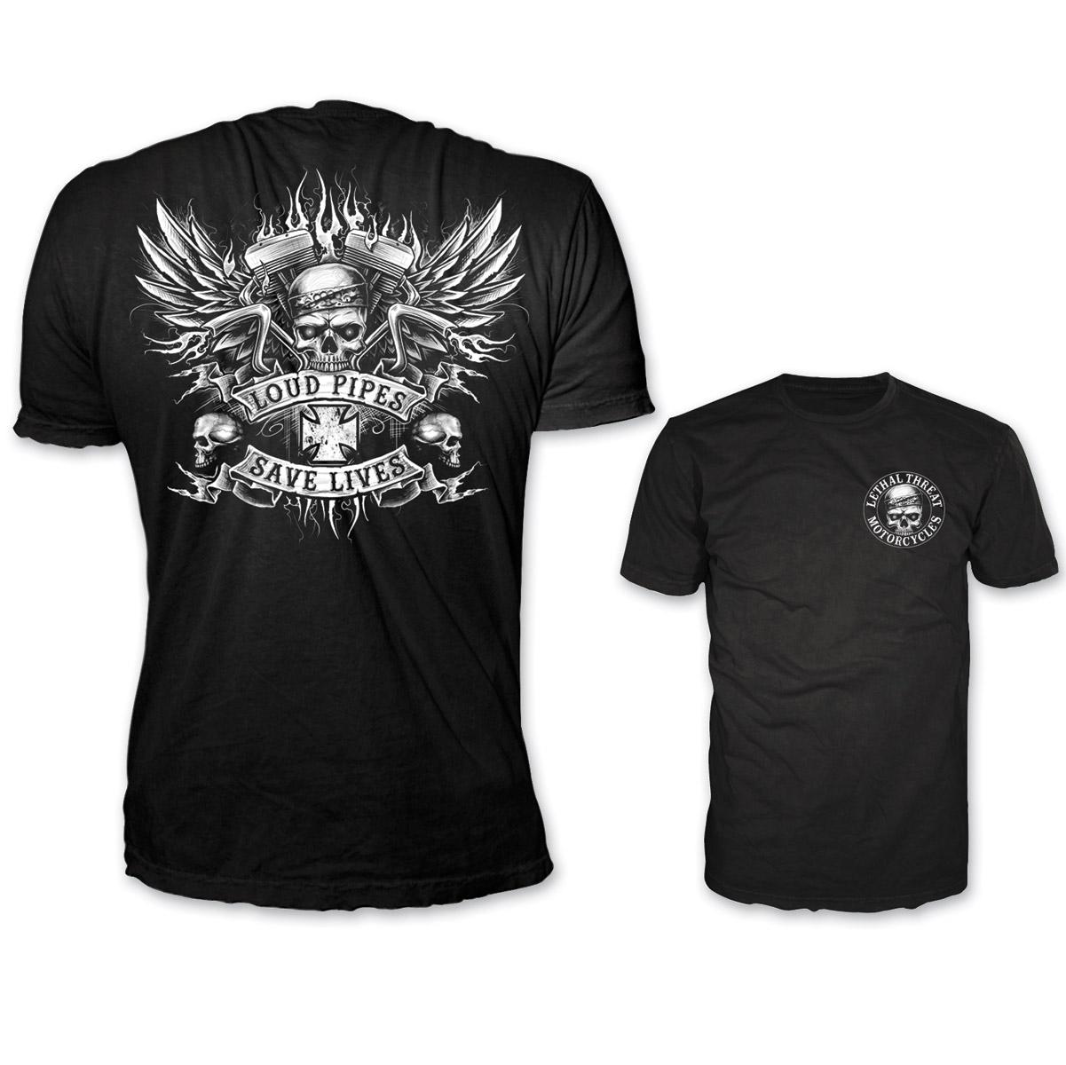 59bce28974 Lethal Threat Men's Winged Loud Pipes Black T-Shirt - LT20263-XL