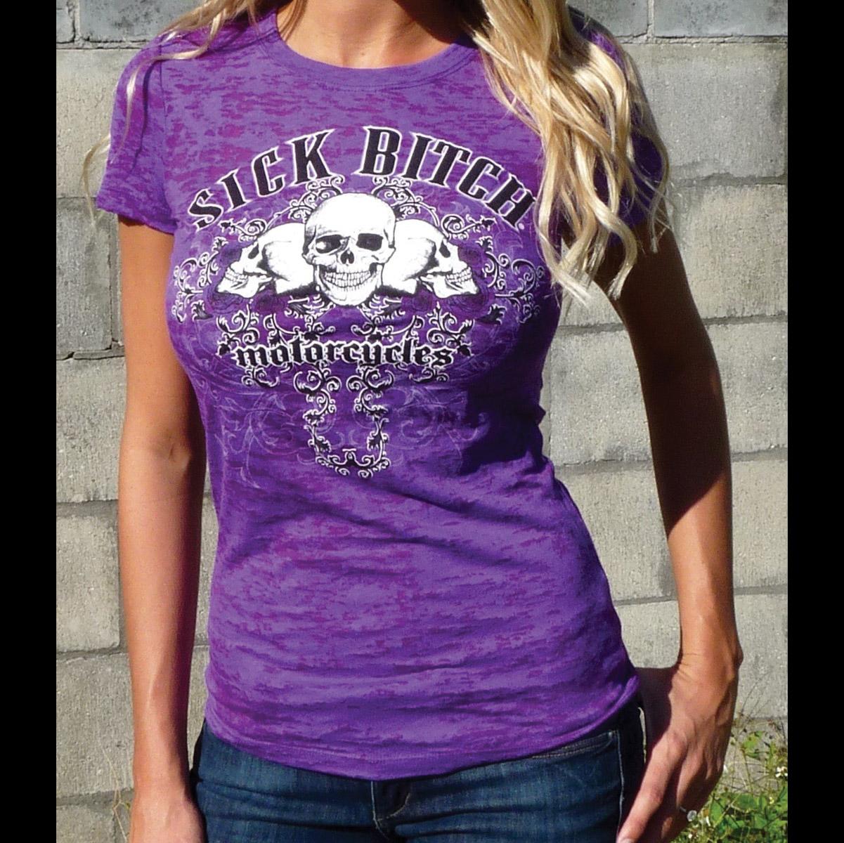 Sick Boy Sick Bitch Women's Purple Burnout T-Shirt