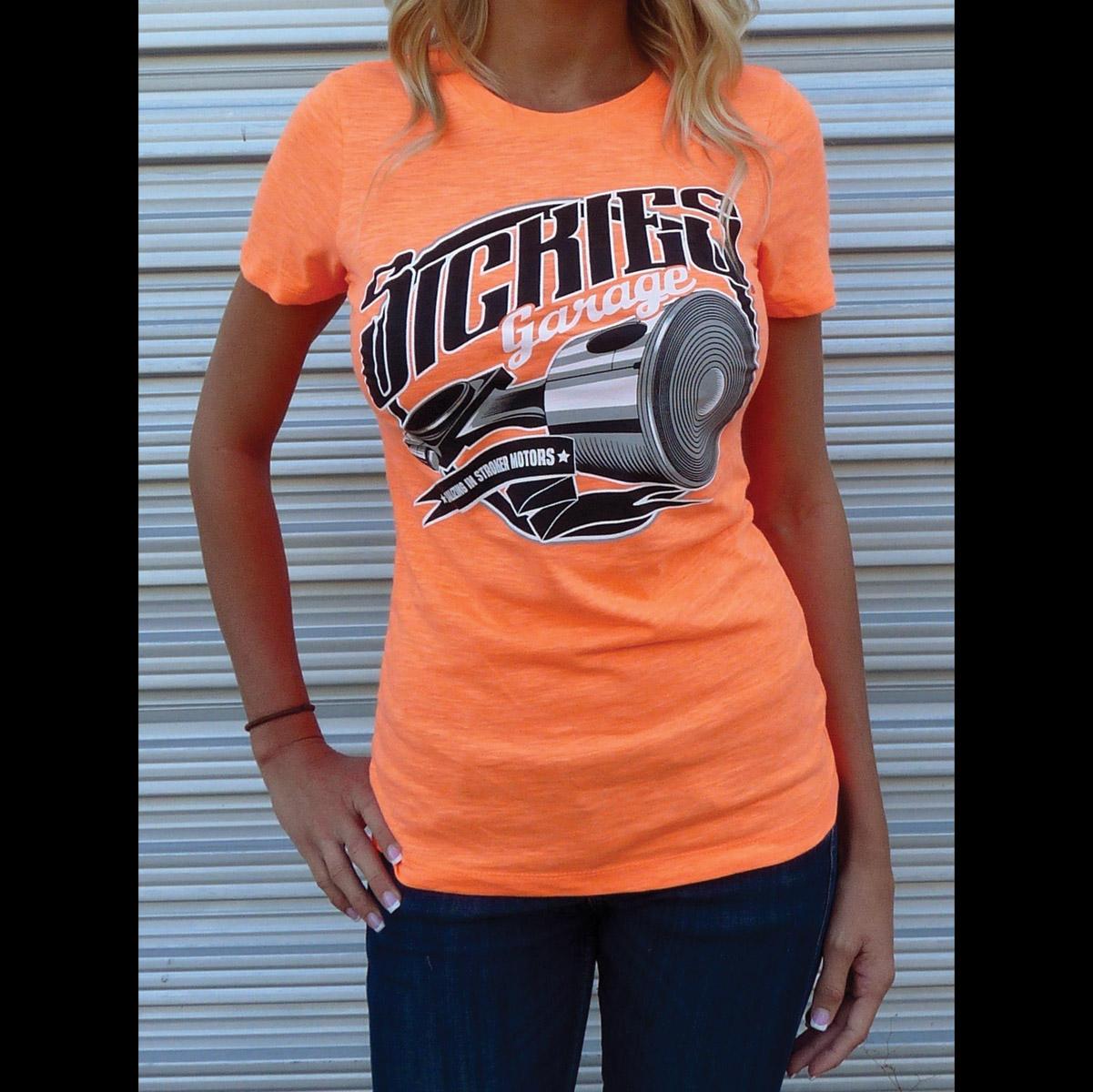 Sick Boy Sickies Garage Women's Stroker Motor Orange T-Shirt