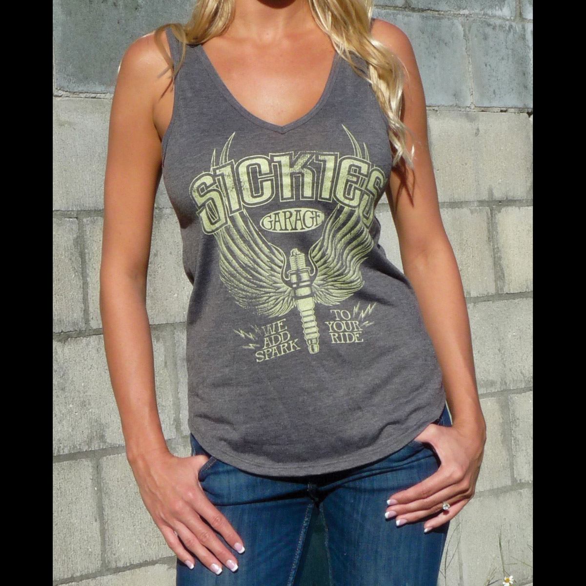 Sick Boy Sickies Garage Women's Spark Plug Gray Tank Top