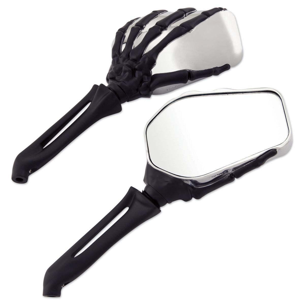Milwaukee Twins Chrome And Black Hand Bone Mirror 18 368