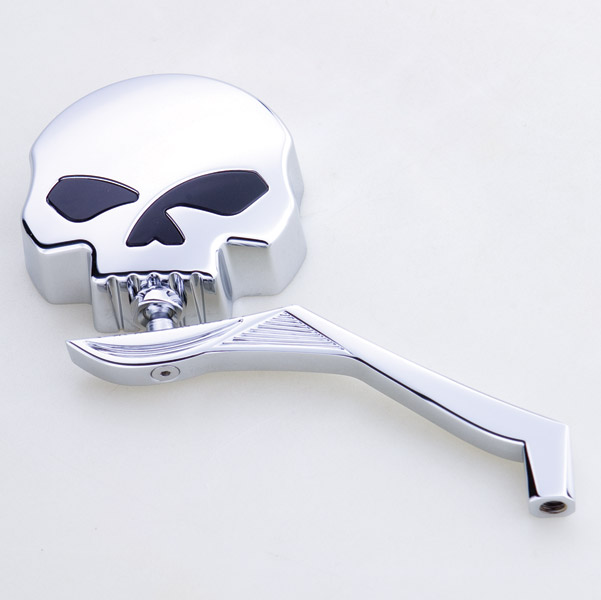 J&P Cycles® Skull Mirror Head with Winged Stem