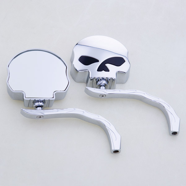 J&P Cycles® Skull Mirror Head with Flame Stem