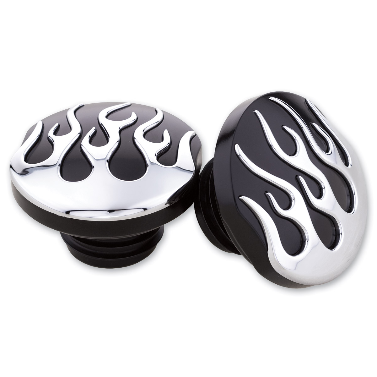 Milwaukee Twins Black and Chrome Flame Gas Cap Set