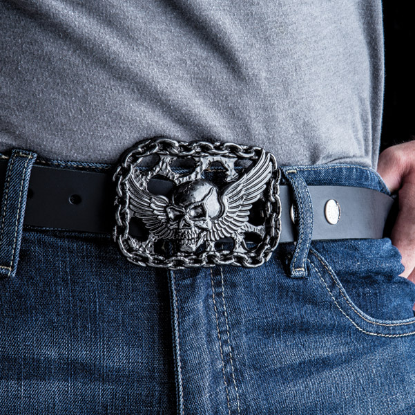 Milwaukee Twins Gunmetal Flying Skull Belt Buckle