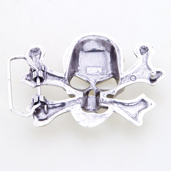 Milwaukee Twins Brushed Antique Skull Crossbones Belt Buckle
