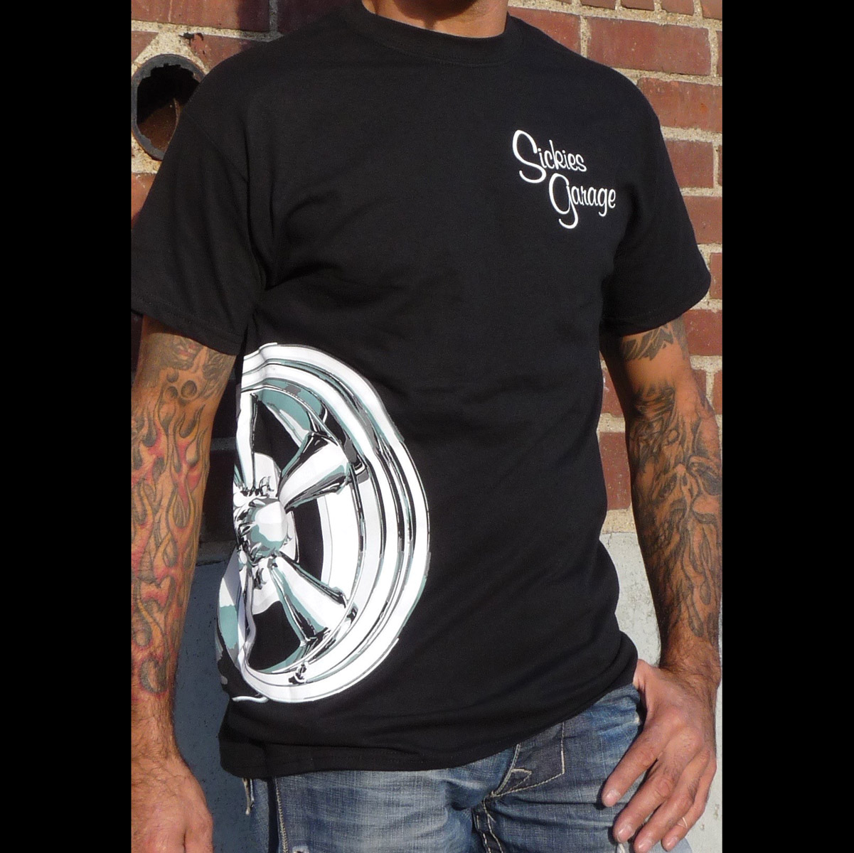 Sick Boy Sickies Garage Men's Wheel Black T-Shirt